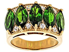 Green chrome diopside 18k yellow gold over silver ring 4.98ctw