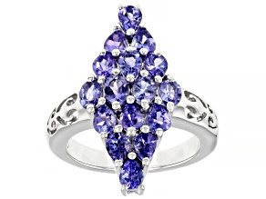 Blue tanzanite rhodium over silver ring 2.31ctw