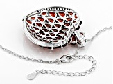 Red Garnet Rhodium Over Silver Pendant With Chain 16.78ctw