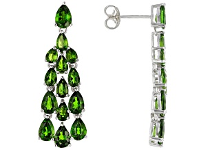 Green chrome diopside rhodium over silver dangle earrings 7.40ctw