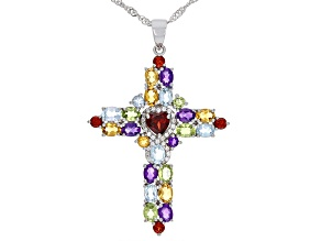 Multi-Gemstone Rhodium Over Silver Cross Pendant with Chain 5.45ctw