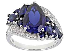 Blue Lab created sapphire rhodium over sterling silver ring 4.78ctw