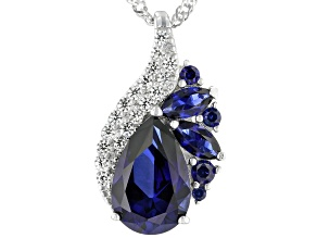 Blue Lab created sapphire rhodium over sterling silver pendant with chain 4.18ctw