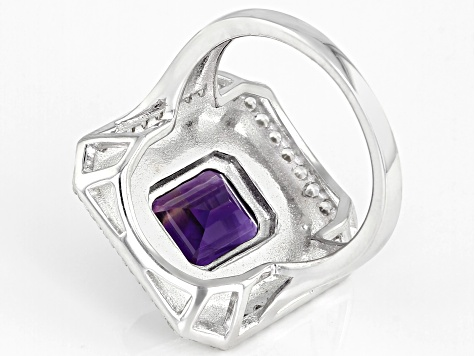 Purple amethyst rhodium over sterling silver ring 3.13ctw