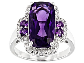 Purple amethyst rhodium over silver ring 4.69ctw