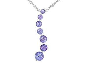 Blue Tanzanite Rhodium Over Silver Pendant With Chain 1.14ctw