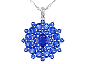 Blue Lab Created Spinel Rhodium Over Silver Pendant With Chain 5.75ctw