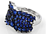 Lab created blue spinel rhodium over silver ring 2.32ctw
