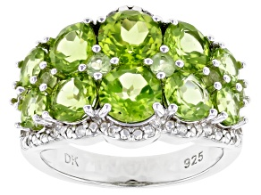 Green Peridot Rhodium Over Silver Ring 4.49ctw