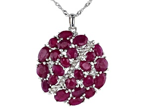 Red Indian Ruby Rhodium Over Silver Pendant With Chain 16.33ctw