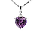 Purple Lab Created Color Change Sapphire Rhodium Over Silver Pendant With Chain 6.07ctw