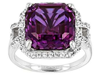 Picture of Purple Lab Created Color Change Sapphire Rhodium Over Silver Ring 9.37ctw