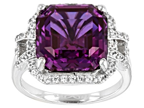 Purple Lab Created Color Change Sapphire Rhodium Over Silver Ring 9.37ctw