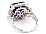 Purple Color Change Lab Created Sapphire Rhodium Over Silver Ring 9.37ctw