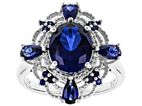 Blue Lab Created Sapphire Rhodium Over Silver Ring 3.67ctw
