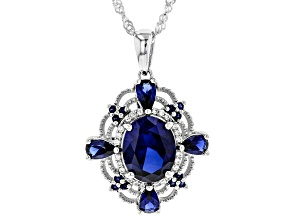 Blue Lab Created Sapphire Rhodium Over Silver Pendant With Chain 3.67ctw