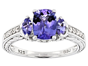 Blue Tanzanite Rhodium Over Silver Ring 1.68ctw