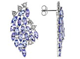 Tanzanite Rhodium Over Sterling Silver Earrings 7.64ctw