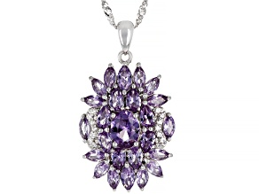 Purple Lab Created Color Change Sapphire Rhodium Over Silver Pendant with Chain 5.27ctw