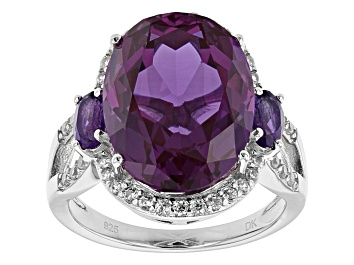Picture of Purple Lab Created Color Change Sapphire Rhodium Over Sterling Silver Ring 12.13ctw