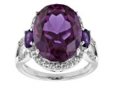 Purple Lab Created Color Change Sapphire Rhodium Over Sterling Silver Ring 12.13ctw