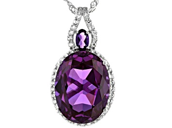 Picture of Purple Lab Created Color Change Sapphire Rhodium Over Sterling Silver Slide With Chain 11.98ctw