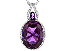 Purple Lab Created Sapphire Rhodium Over Sterling Silver Slide With Chain 11.98ctw