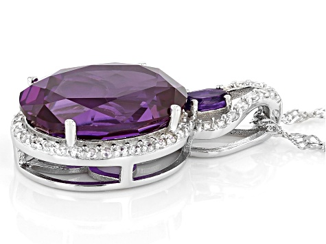 Purple Lab Created Color Change Sapphire Rhodium Over Sterling Silver Slide With Chain 11.98ctw