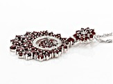 Red Garnet Rhodium Over Silver Pendant With Chain  4.86ctw