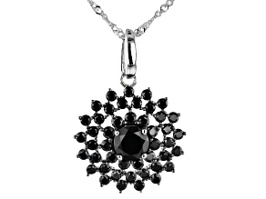 Black Spinel Rhodium Over Silver Enhancer With Chain 3.96ctw