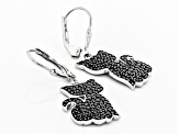 Black Spinel Rhodium Over Silver Earrings 1.84ctw