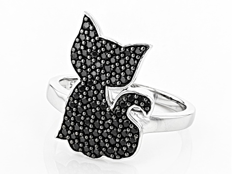 Black Spinel Rhodium Over Silver Ring .92ctw
