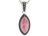 Pink thulite rhodium over silver solitaire enhancer with chain
