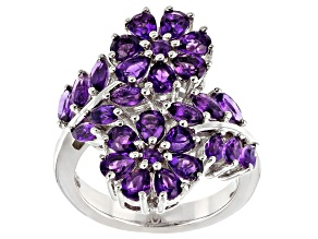 Purple Amethyst Rhodium Over Silver Ring 2.98ctw