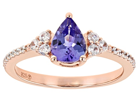 Blue tanzanite 18k rose gold over sterling silver ring 1.33ctw