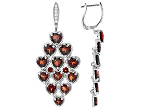 Red Garnet Rhodium Over Silver Chandelier Earrings 7.39ctw