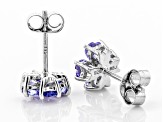 Blue tanzanite rhodium over sterling silver stud earrings 1.24ctw