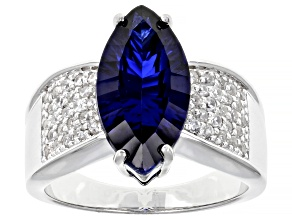 Lab created blue sapphire rhodium over silver ring 4.72ctw