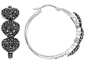Black spinel rhodium over sterling silver hoop earrings 2.93ctw