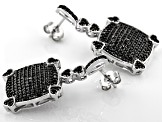 Black Spinel Rhodium Over Silver Earrings 1.36ctw