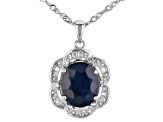 Blue Sapphire Rhodium Over Silver Pendant With Chain 5.30ctw
