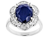 Blue Sapphire Rhodium Over Silver Ring 5.35ctw