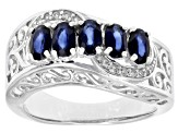 Blue sapphire rhodium over sterling silver ring 1.53ctw