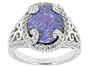 Multi-Color Australian Opal Triplet Rhodium Over Silver ring .59ctw