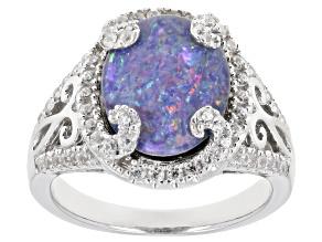 Multi-Color Australian Opal Triplet Rhodium Over Silver ring .59ctw