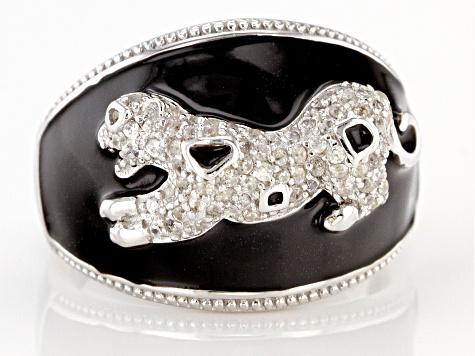 White zircon rhodium over sterling silver panther ring .60ctw