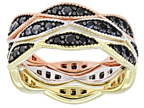 Black spinel, rhodium, 18k rose & 18K yellow gold over silver set of 3 eternity band rings.
