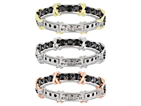 Black spinel, rhodium, 18k rose & 18k yellow gold over silver set of 3 eternity bands 2.65ctw