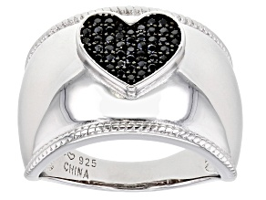 Black spinel rhodium over sterling silver heart ring 0.24ctw