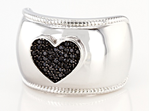 Black spinel rhodium over sterling silver heart ring .24ctw